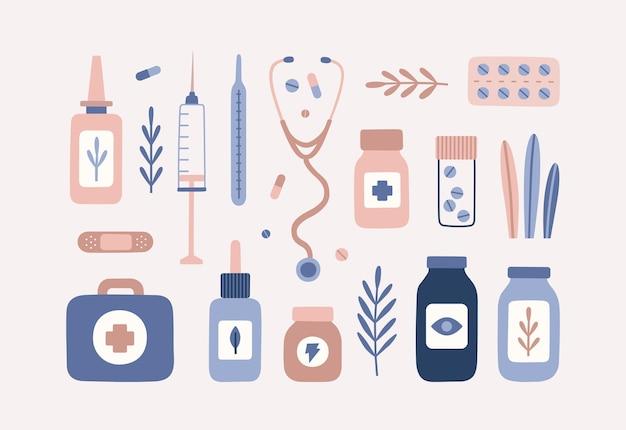 医療オブジェクトと植物の手描きセット