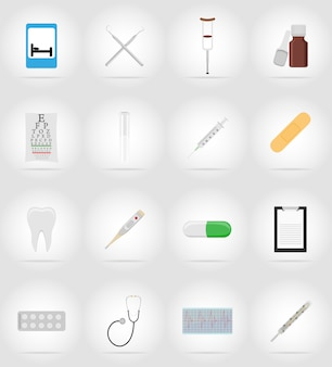 Medical objects and equipment flat icons illustration