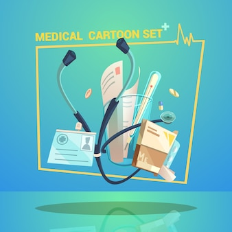 Medical objects set with thermometer pills and stethoscope cartoon