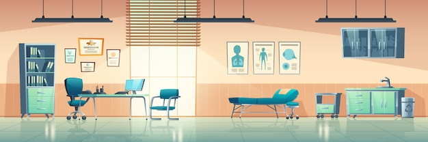 Medical office interior, empty clinic room with doctor stuff, hospital with couch, chair and washbasin, locker for medicine, table, computer and medical aid banners on wall cartoon illustration