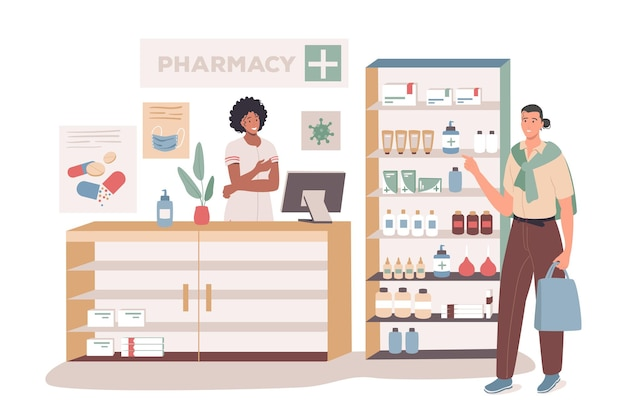 Medical office web concept. buyer standing in pharmacy, medicines on shelves, pharmacist consults patient, doctor prescription