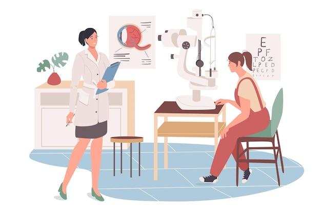 의료 사무실 웹 개념입니다. 안과 의사 예약 환자. 의사는 눈 건강을 검사하고, 시력을 확인하고, 컨설팅합니다.