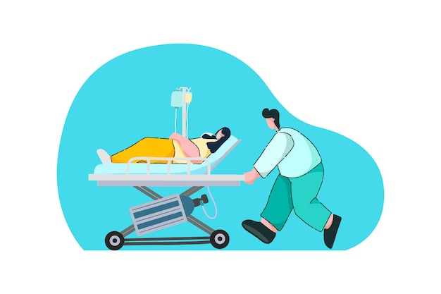 Medical officer bring the patient to hospital