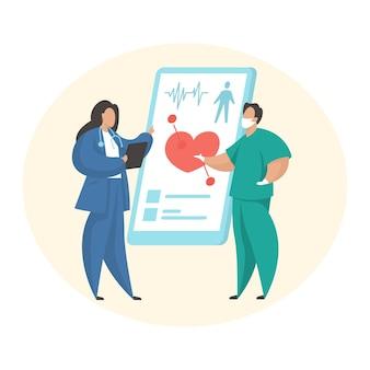 의료 온라인 상담. 원격진료. 남성과 여성 만화 캐릭터 의사는 모바일 애플리케이션을 사용하여 의사 소통합니다. 치료사와 심장 전문의는 온라인으로 환자를 검사합니다. 평면 벡터 일러스트 레이 션