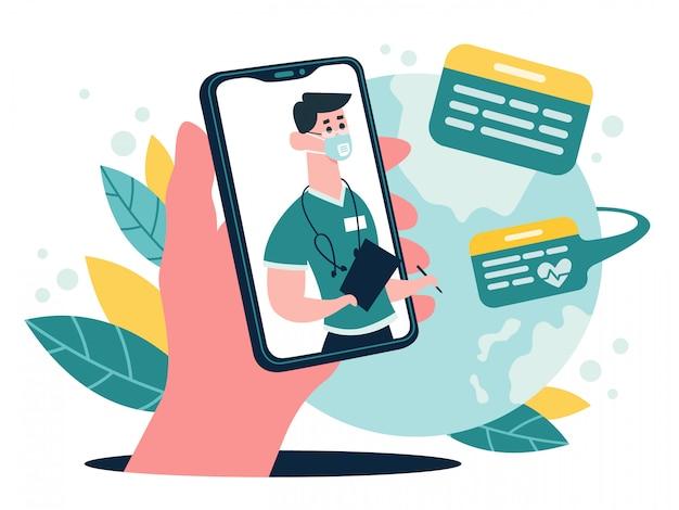 医療オンライン相談。スマートフォンの画面、オンライン医療インターネットクリニック支援サービス、イラストでセラピストのアドバイスチャット。オンライン相談医、医師