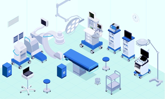 Medical operating room equipment lighting heart rate monitoring lungs ventilators anesthesia machines surgical table isometric