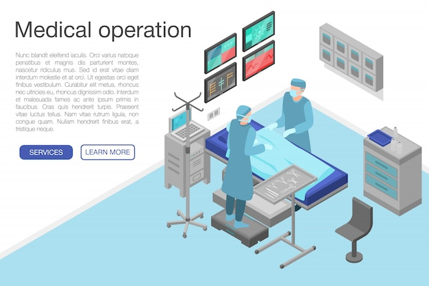Medical operation concept banner, isometric style