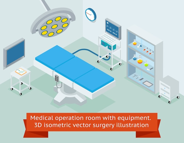 Medical operation room with equipment. hospital and medicine, clinic surgical operating. isometric vector surgery