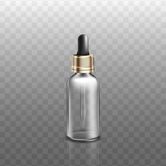 透明な背景に、現実的なスポイト付きの医療または化粧品のガラス瓶。スポイトまたは液体アロマ製品の容器。