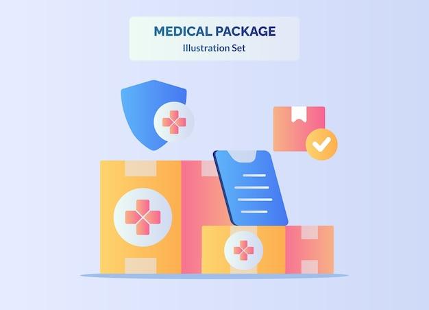 Медицинский пакет концепция доставки коробки буфер обмена щит