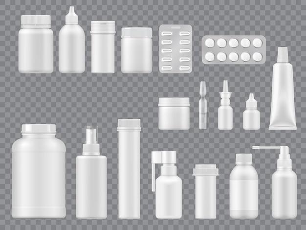 透明な背景の医療パッケージとボトル