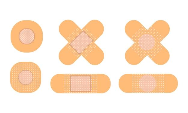 Медицинский патч набор иллюстраций. антисептический пластырь. векторная иллюстрация