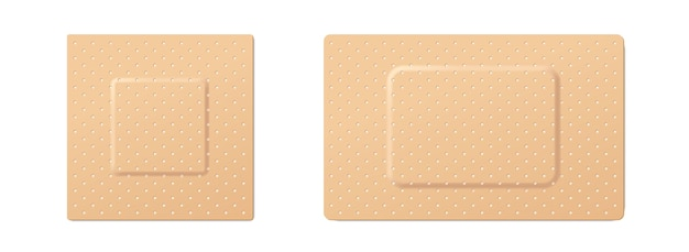 Набор медицинских пластырей. реалистичные эластичные медицинские пластыри на белом фоне. 3d реалистичная повязка. векторная иллюстрация