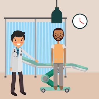 ベッドのストレッチャで患者と医者の医者
