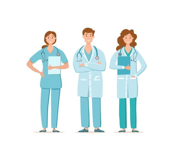 顔の保護マスク漫画の文字ベクトルイラストの医療関係者。コロナウイルスと戦うための医師の専門家チーム。病院の労働者とのcovid-19ヘルスケアの概念を止めてください。