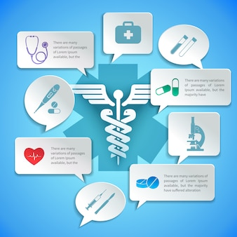 Medical pharmacy ambulance paper infographic and speech bubbles vector illustration.