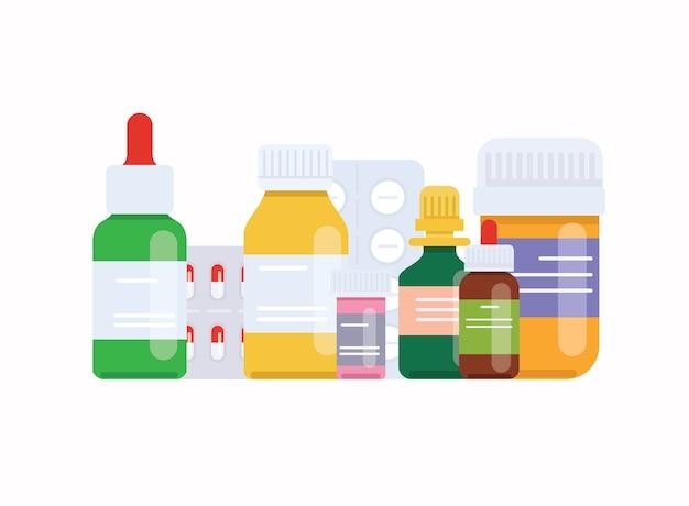 Медицинские таблетки и флаконы. медицинская концепция.