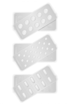 Medical pills in blank package for treatment vector illustration