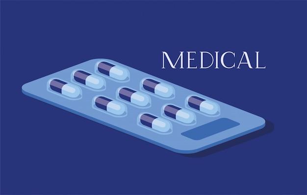 Медицинские таблетки наркотиков значок