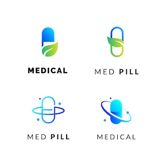 Medical pills logos set