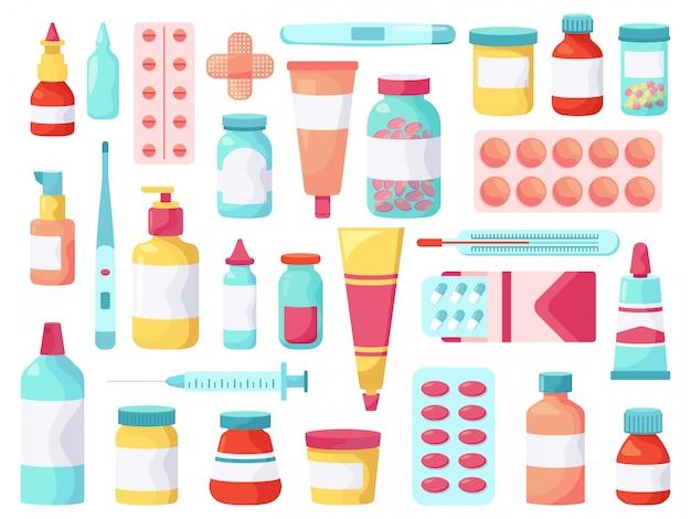 医療薬。薬局抗生物質薬、薬、鎮痛剤の治療、応急処置キット薬理ブリスターパックイラストアイコンセット。ドラッグストア用の包装用サプリメント、パッチ、針