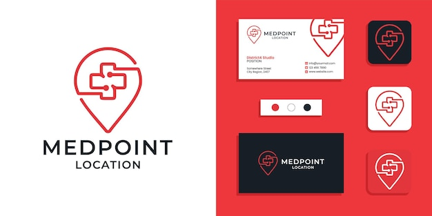 Medical place location logo icon and business card design template