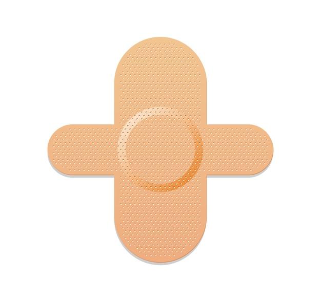 의료 석고. 접착 붕대 또는 고착 석고. 의료용 밴드는 응급 처치 용 보호 패치를 지원합니다. 보호 및 관리. 흰색 바탕에 만화 석고입니다.