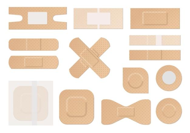 Медицинский пластырь. реалистичные водостойкие перфорированные медицинские пластыри, пластиковая клейкая лента первой помощи круглой прямоугольной формы, набор векторных средств защиты и ухода