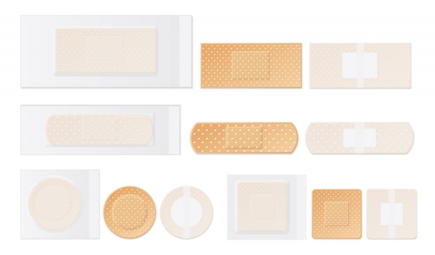 Medical plasters perforated realistic set