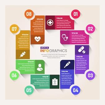 의료 플러스 기호 전문 infographic 플랫 컬러 템플릿