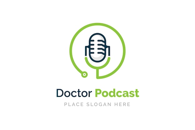 Medical podcast logo design stethoscope and microphone illustration symbol
