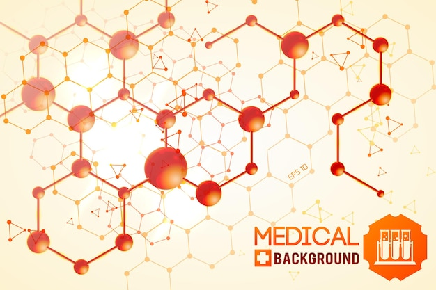 オレンジ色の元の化学原子および分子構造を持つ医療ポスター