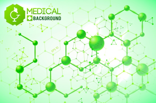 Medical poster with original chemical atomic and molecular structure and formulas on the green