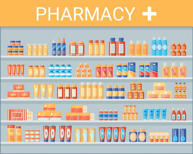 Medical products on pharmacy shelf. drugstore shelves with medicines and medications. pills bottles packets liquids syrup capsules in hospital pharmaceutical store. flat design. vector illustration