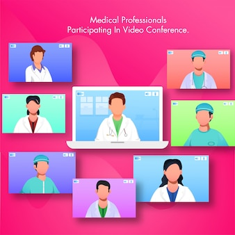 Medical professional participating in video conferencing by laptop with multiple screens of doctors and nurses.