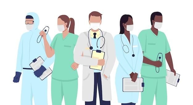 医療専門家のセミフラットカラーベクトル文字。医療従事者の数字。医師、マスクを身に着けている看護師は、グラフィックデザインとアニメーションのモダンな漫画スタイルのイラストを分離しました