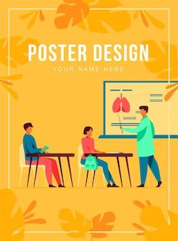 Professore di medicina che presenta infografica d'organo al pubblico. studenti universitari che ascoltano la lezione in aula