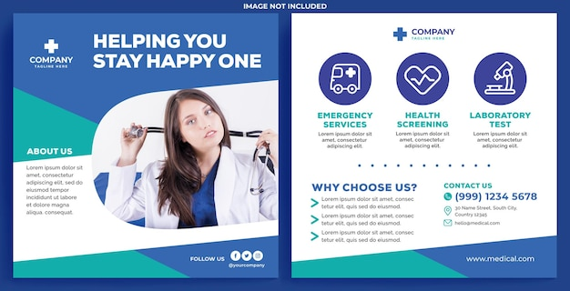 Medical promotion feed instagram in flat design style