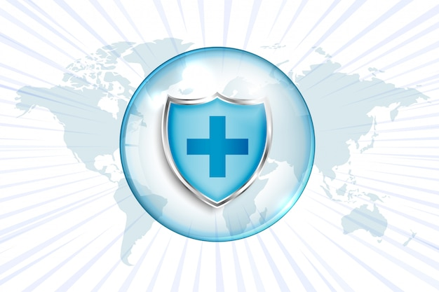 크로스 기호 및 세계지도와 의료 보호 방패