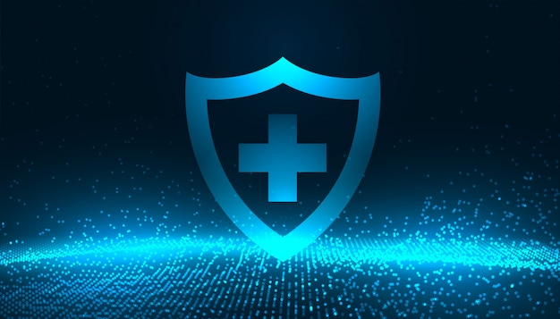 Medical protection shield with glowing blue particles