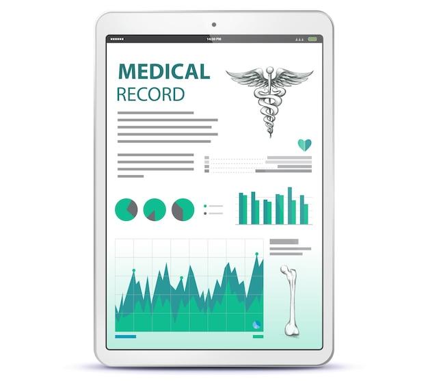 태블릿 컴퓨터 화면에 의료 기록