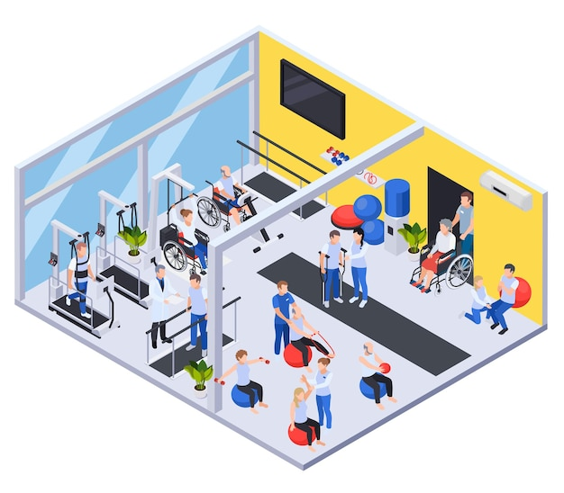 Medical rehabilitation and physiotherapy center isometric illsutration