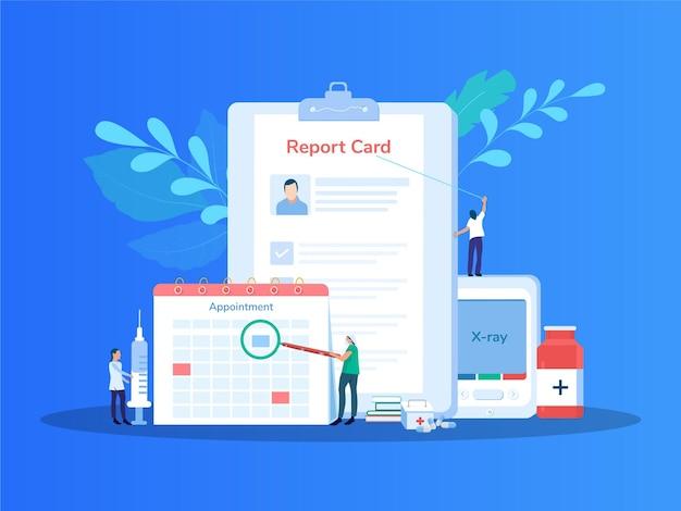 의료 보고서 그림 임상 기록이 있는 의료 클립보드