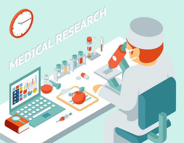 Medical research 3d isometric concept. science chemical, medicine and pill, vector illustration