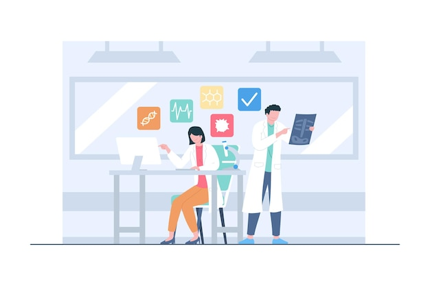Medical research by doctor team scene illustration