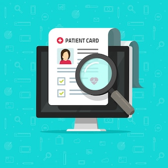 Medical research report online or online patient card document check list