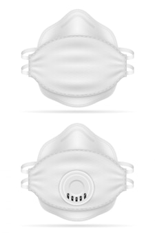Medical respiratory breathing mask for protection against diseases and infections transmitted by airborne droplets vector illustration