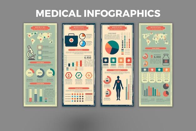医療レトロインフォグラフィックテンプレート