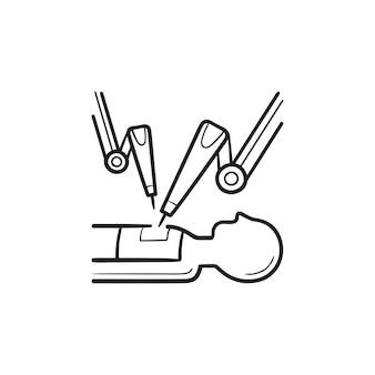 Medical robot at robot-assisted surgery hand drawn outline doodle icon. robotic surgery, medical robot concept