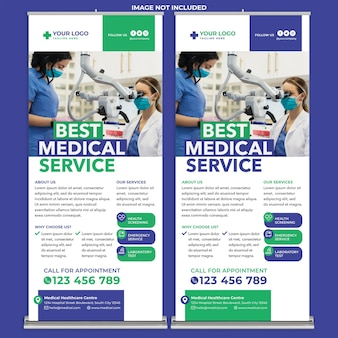 Medical roll up banner print template in modern design style